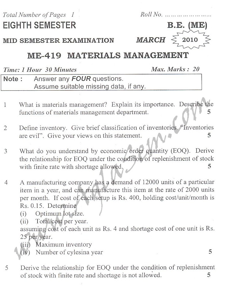 DTU Question Papers 2010 – 8 Semester - Mid Sem - ME-419