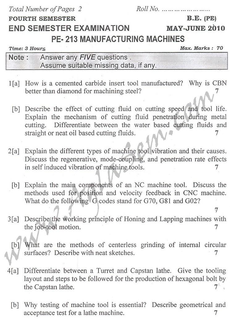 DTU Question Papers 2010 – 4 Semester - End Sem - PE-213