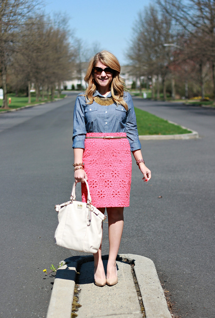 J Crew eyelet pencil skirt polka dot chambray blouse work outfit
