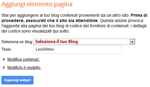 tutorial linkwithin, come aggiungere il gadget  linkwithin sul blog