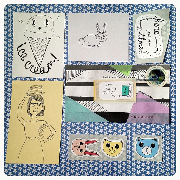 I received an envelope full of doodles today #doodles #stickers #rabbit #icecream #cat #bear #girl #books #envelope #snailmail #sendmoremail