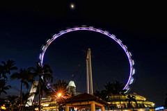 Singapore Flyer and the moon