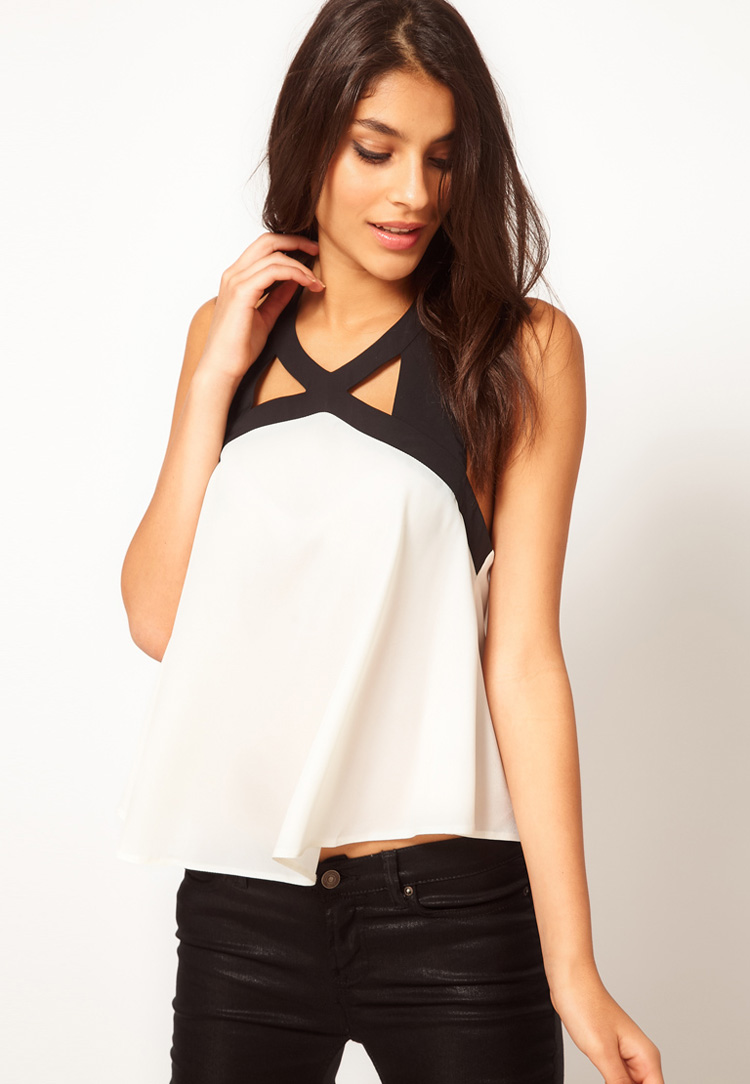 ASOS Cami With Contrast Cutout Neck Detail