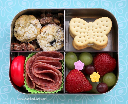 Lunchbots quad - butterfly flower garden bento box with blueberry mini muffins, salami & cheese