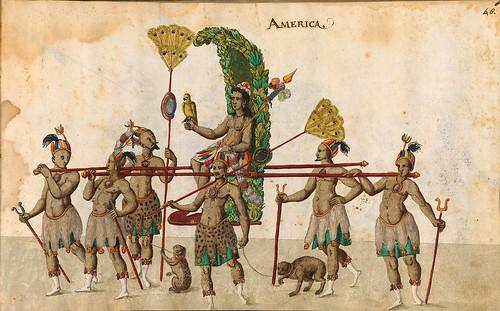 010- Cabalgata sobre los continentes-America-Descripción de las ocho festividades celebradas durante los juegos…1596-Biblioteca Estatal de Baviera