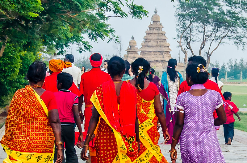 pilgrims at shore temple mahabalipuram