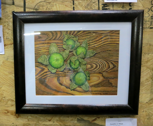 AAN2013 Tomatillos on Wood by Mark Neuherz Colored Pencil