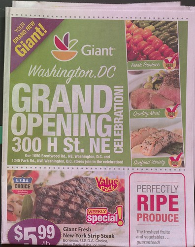 Giant Supermarket circular, May 1st, 2013, calling attention to the grand opening of the location at 300 H Street NE