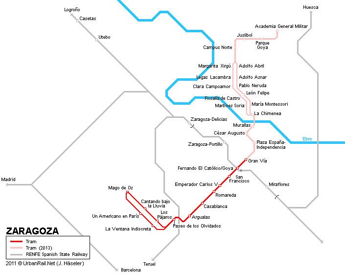 Mapa comboio/trem em Saragoca