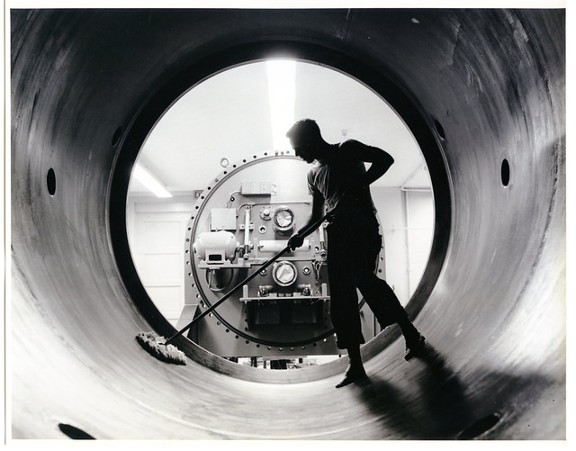 Cleaning the Van de Graaff Accelerator, Triangle Universities Nuclear Laboratory, ca. 1950s