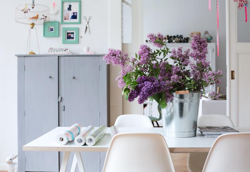Lilacs, succulent garden, red shoes,