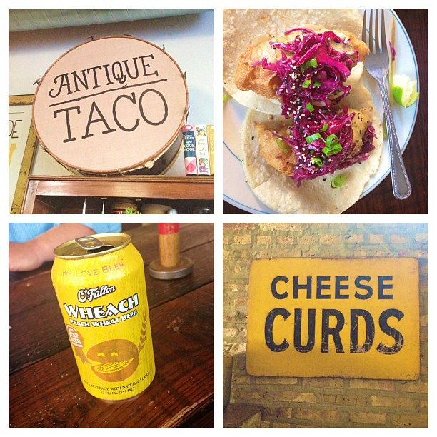 So Yum. Best tacos and cheese curds. And that peach wheat beer was amazing. @antiquetaco