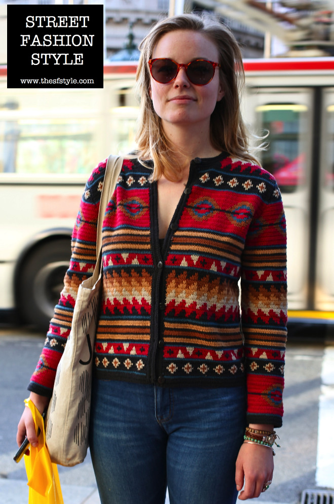 tribal print, knitwear, doc martens, turquoise, san francisco fashion blog, thesfstyle, sfstyle, street fashion style,