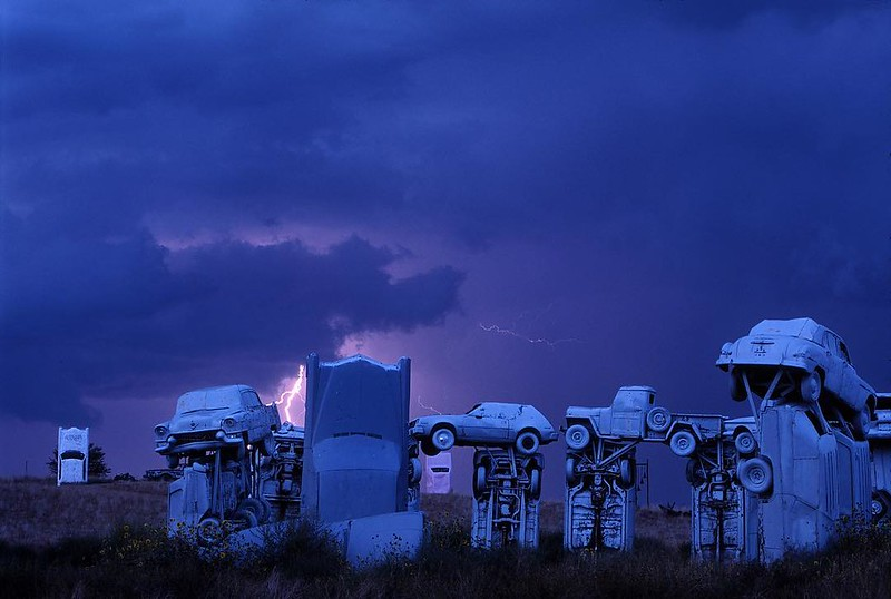 Thunderstorm over Carhenge in Alliance, Nebraska. The Great Plains has always struck me as a blank slate where you could see people acting out their inner dramas. @natgeo @natgeocreative #nebraska #weather