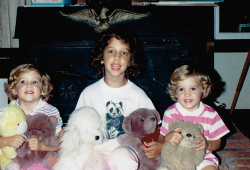 Sisters and our bears (and one stuffed dog)