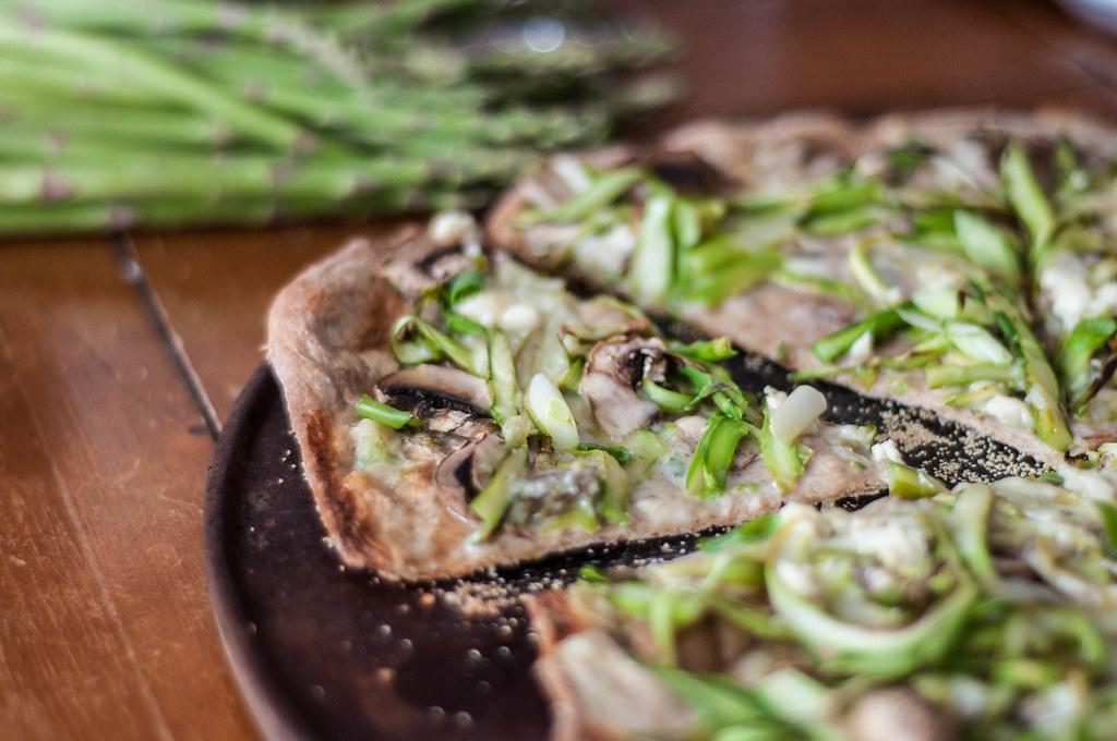 Shaved asparagus & Mushroom Pizza with Béchamel Sauce