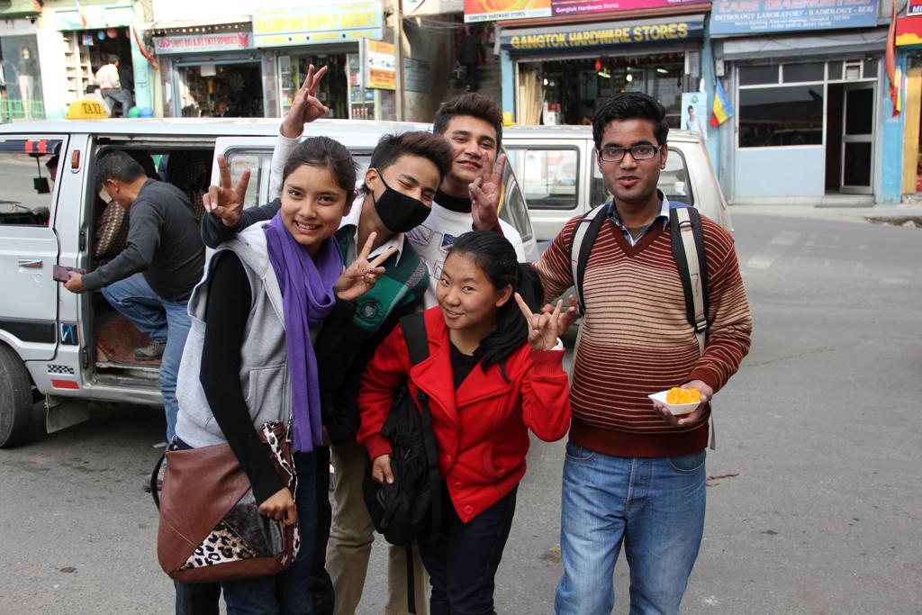 Friendly students in Gangtok