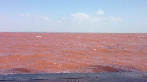Red sea at Babbacombe Bay
