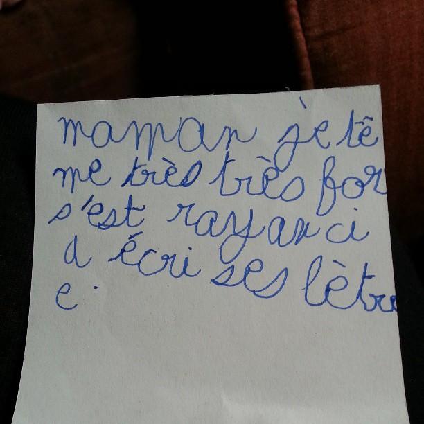 Premier mot doux écrit par mon fils pour moi ♥♡♥ #nofiltre #6ans #cp #amour #maman