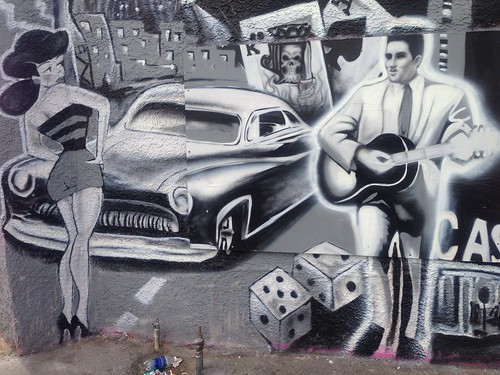 Elvis Presley on a mural in downtown Las Vegas, Nevada