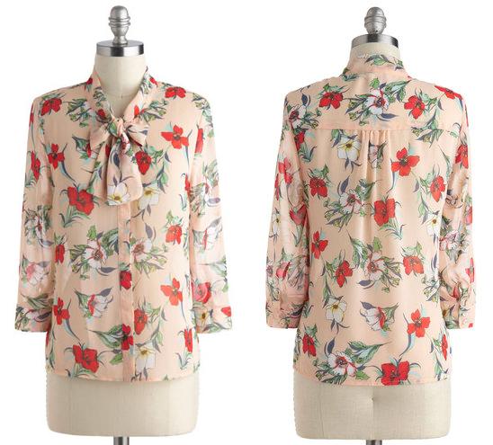 modcloth floral blouse