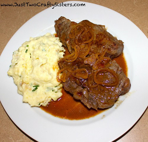 White wine marinated steak with chive mashed potatoes