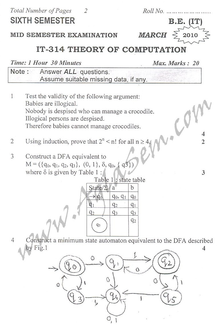 DTU Question Papers 2010 – 6 Semester - Mid Sem - IT-314