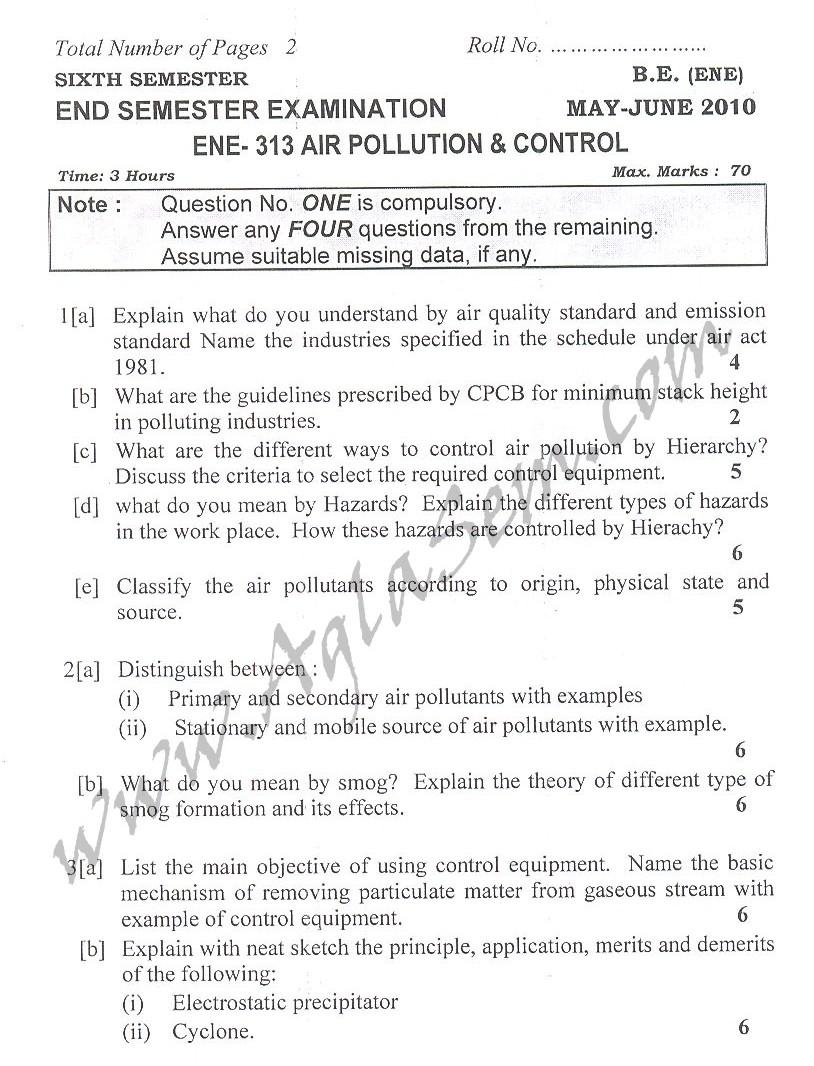 DTU Question Papers 2010 – 6 Semester - End Sem - ENE-313