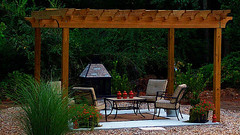 backyard, outdoor structure, furniture, pergola, table, gazebo, patio,