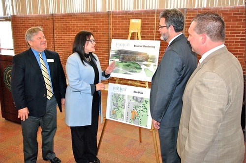 U.S. Dept. of Agriculture Housing and Community Facilities Administrator Tammye Treviño checks out architectural renderings for the renovation and expansion of Wilmington College's Kettering Hall, recent recipient of a $19.7 million CF loan. Joining her from left to right: Ohio Rural Development State Director Tony Logan, Wilmington College President Jim Reynolds, and Ohio Rural Development Community Programs Specialist Ashley Kelly. (Photo courtesy of Randall Sarvis, Wilmington College director of Public Relations.)