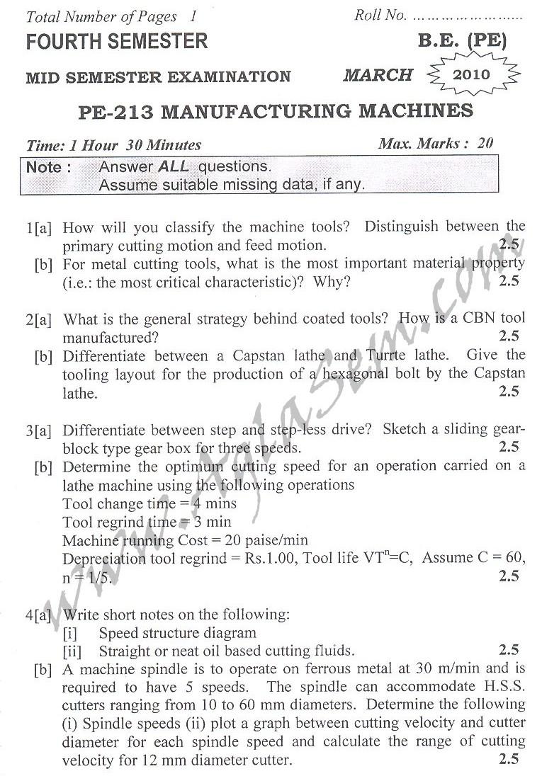 DTU Question Papers 2010 – 4 Semester - Mid Sem - PE-213