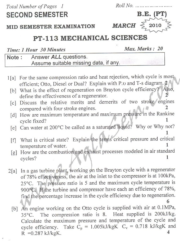 DTU Question Papers 2010 – 2 Semester - Mid Sem - PT-113