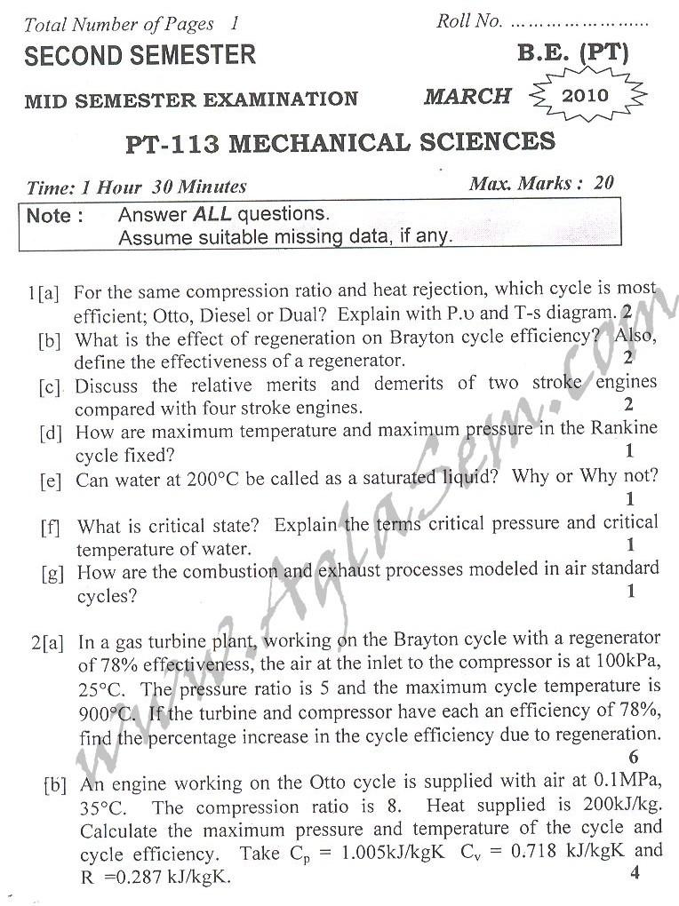 DTU Question Papers 2010 – 2 Semester - Mid Sem - PT-113