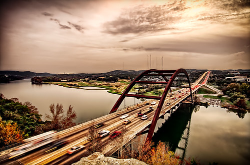 sunset water austin landscape texas places townlake hdr pennybackerbridge hdrextremes