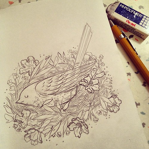 Little bird's sleepy time #sketch