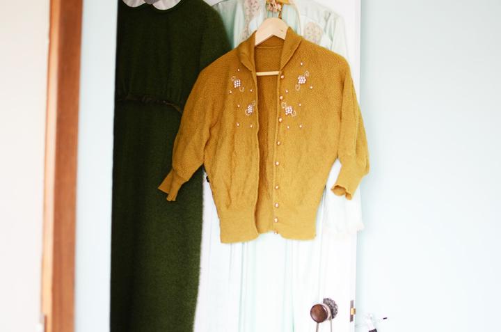 vintage mustard cardigan c