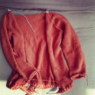 And the cardigan is looking pretty good too. :D #knitting