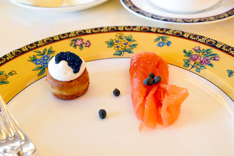 Cavier Profiterole and Smoked Salmon