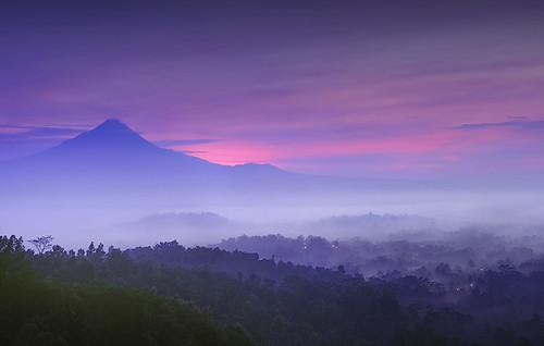 nature indonesia temple landscapes volcanoes borobudur