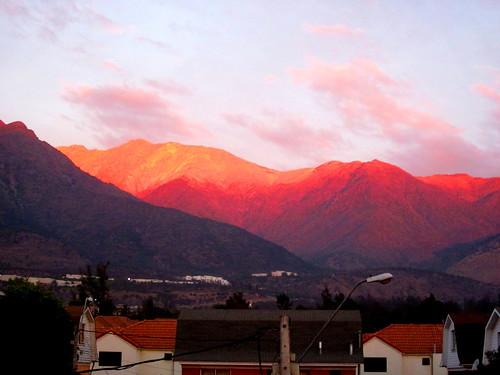 chile pink santiago sunset sky mountain penalolen
