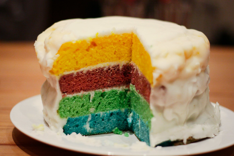 Wednesday, April 17: Sarah-Rose made an incredible rainbow cake for us to eat while watching the marriage equality debate. It was SO good. It was also Laura's birthday.