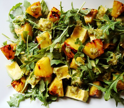 Cuban Avocado, Arugula, Pineapple Salad
