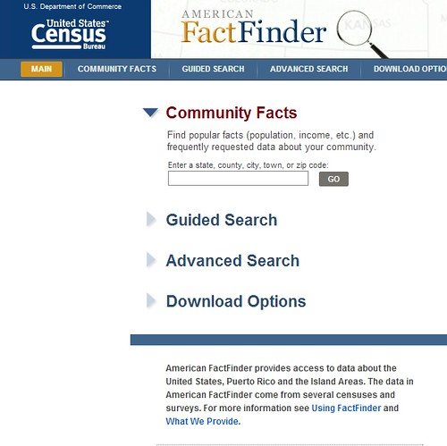 Screen shot of American Fact Finder homepage shows many options for finding informaiton.