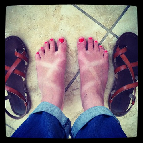 Liz: Honey, have you seen my sandals?  Josh: Aren't you wearing them?