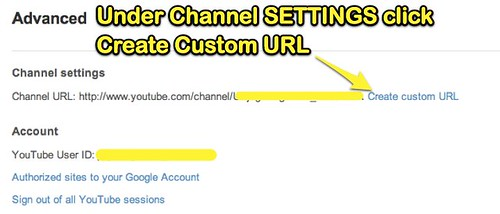 YouTube - Create Custom URL