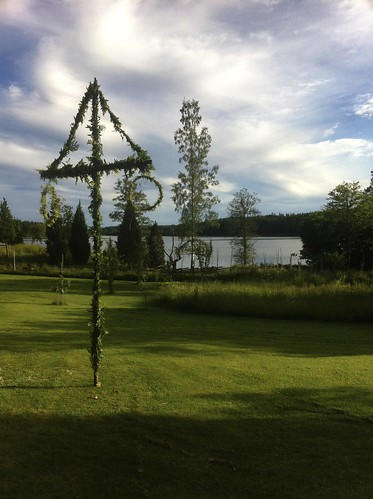 flowers summer lake garden day cloudy sweden traditional sverige maypole midsummerpole östergötlandslän