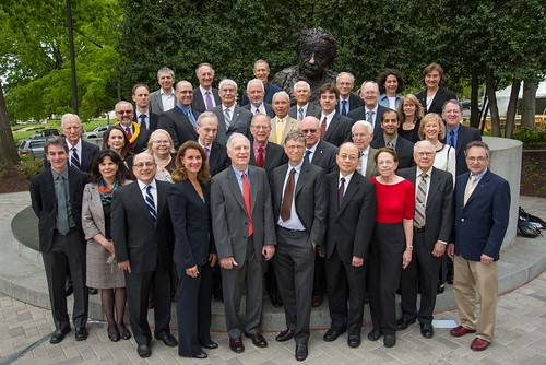 <p>David Karl, third row, first from left, joins other National Academy of Sciences award recipients, including Bill and Melinda Gates, front row, who received the National Academy of Sciences Public Welfare Medal.</p>