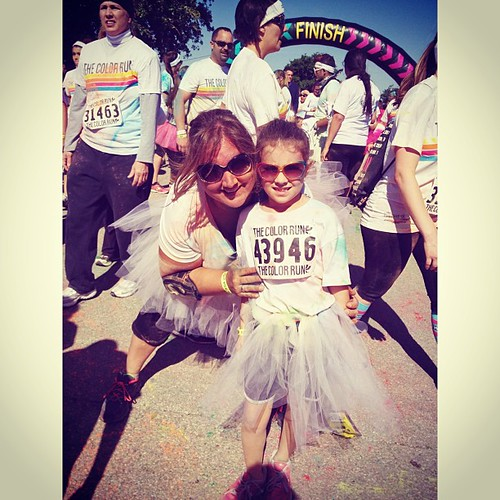 We made it!! #colorrunaustin I am SO proud of her!!!