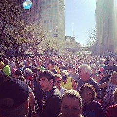 View from the orange corral. Ready to run! #bloomsday #spokane