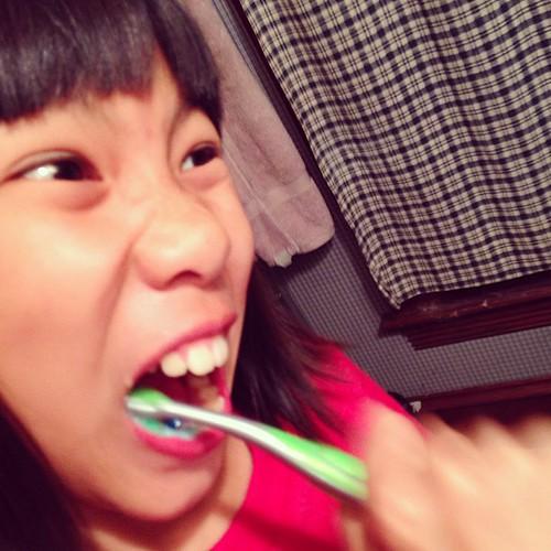 Asian Girl Brushing Teeth Dental Hygiene